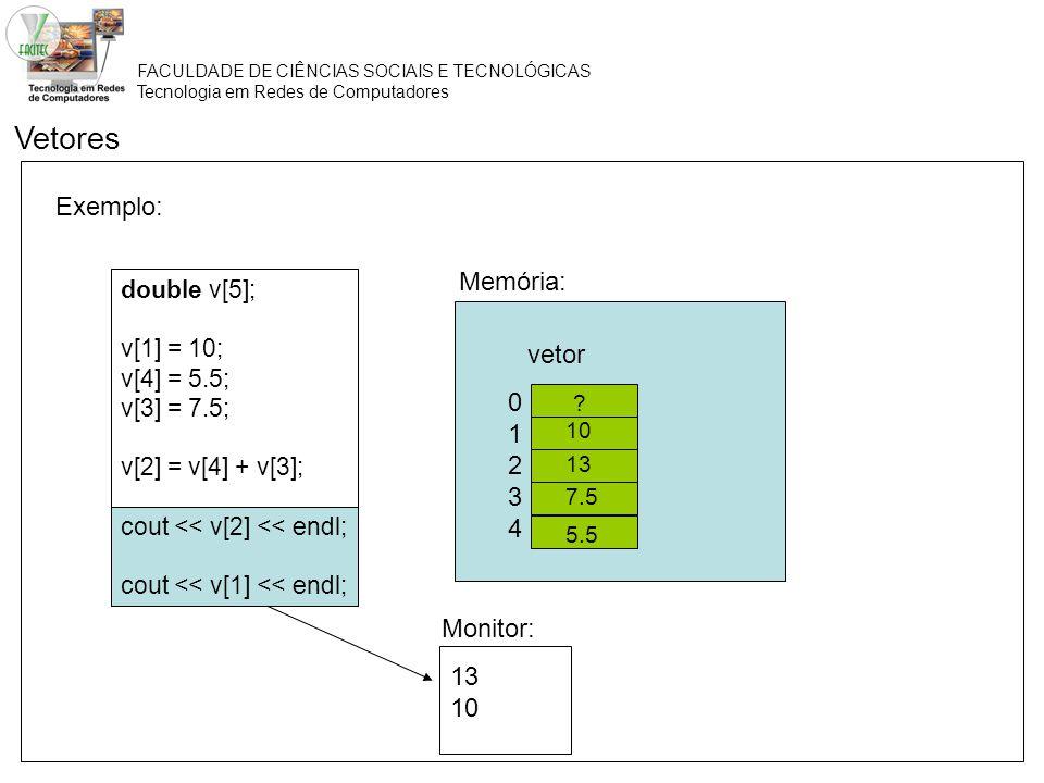 Vetores Exemplo: Memória: vetor 1 2 3 4 Monitor: 13 10 double v[5];